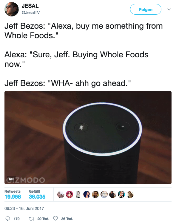 Hendrik's favorit Amazon / Whole Foods tweet